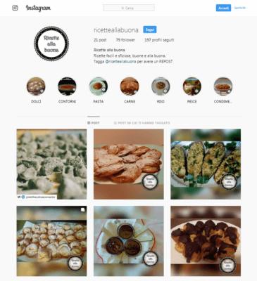 Pagina Instagram Social blog cucina Ricette alla buona-AM Design
