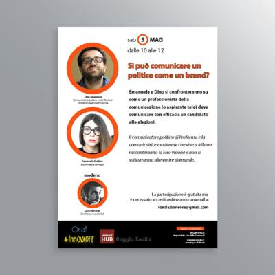 Volantino evento InnovaOff Comunicazione politica-AM Design